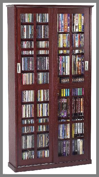 Wood Storage Cabinets with Glass Doors