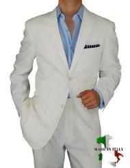 mens ivory linen suit picture-1