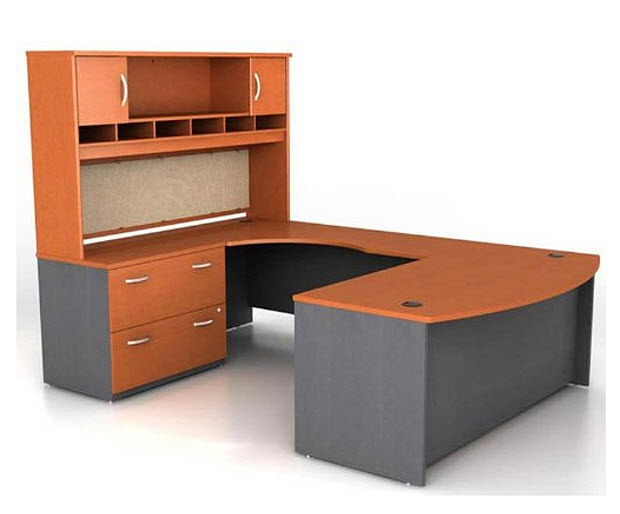 U-shaped office desk with hutch
