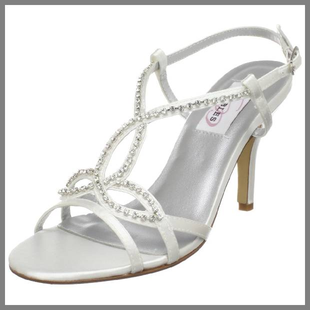 White strappy wedding shoes image