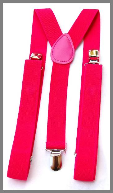 hot pink suspenders for men image