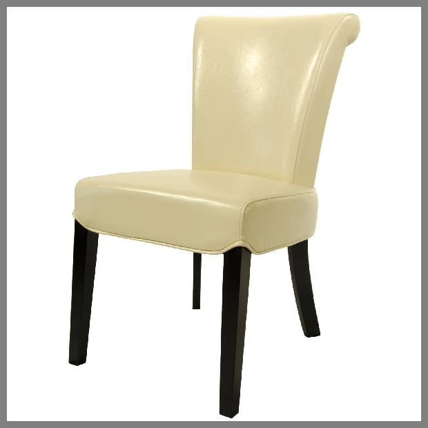 Beige leather dining chairs image