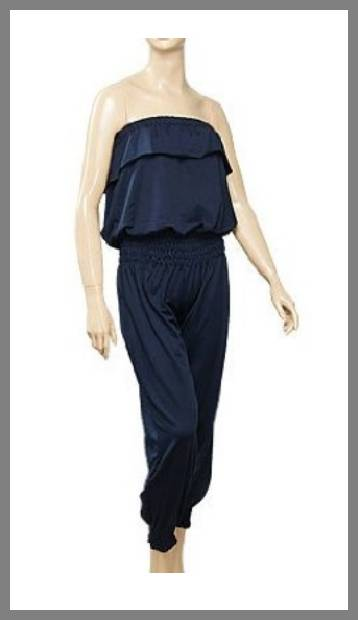 Smocked strapless jumpsuit image