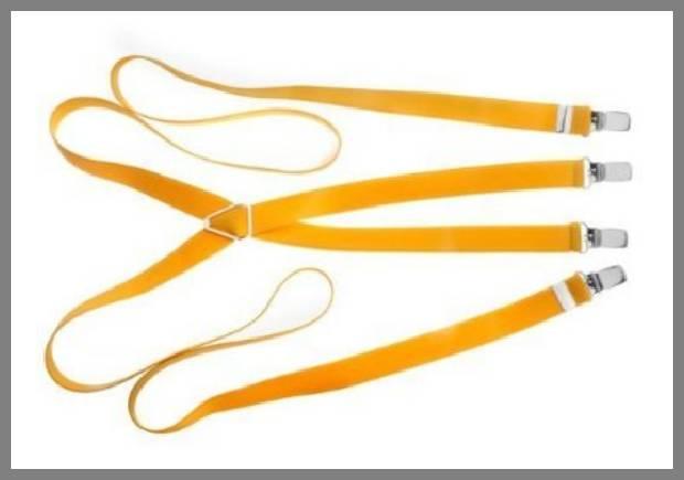 Yellow suspenders for men image