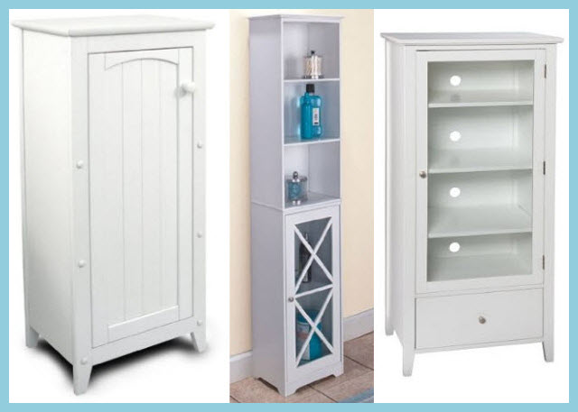 White bathroom storage cabinets