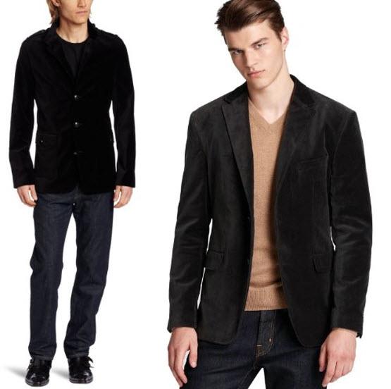 Black velvet blazer for men