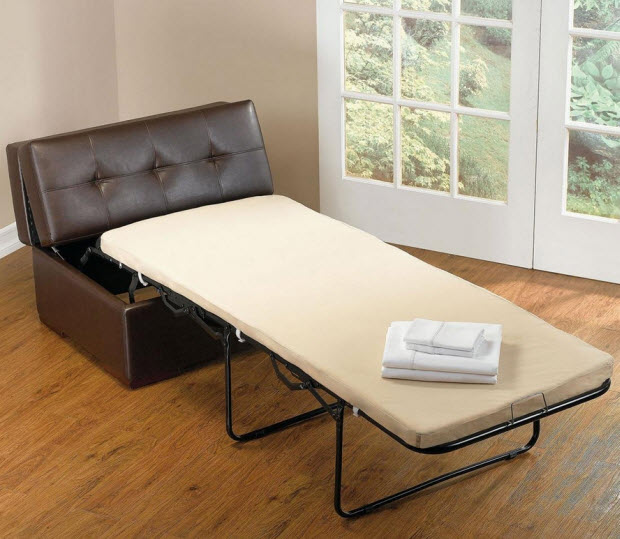 Faux leather ottoman that converts into bed