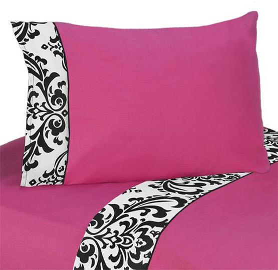Hot pink damask bedding