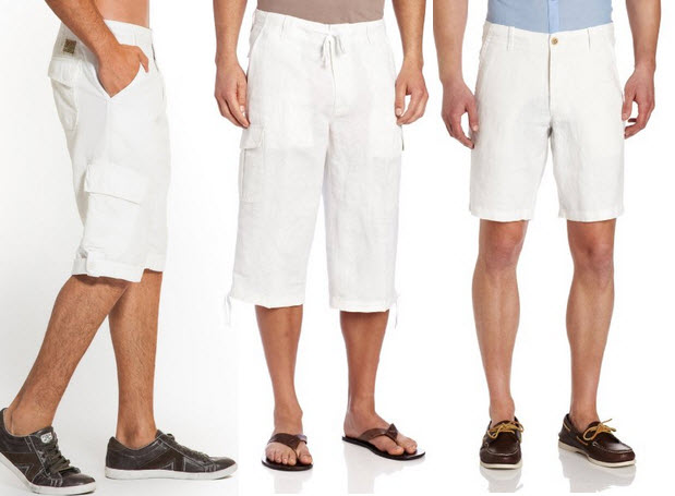 White linen shorts for men