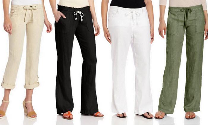 Womens drawstring linen pants