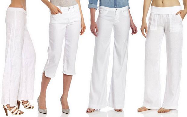 Womens white linen pants