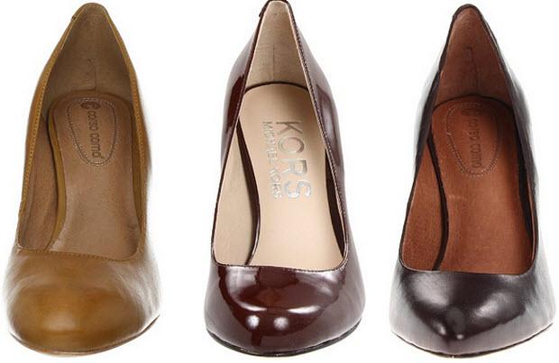 Brown closed toe heels