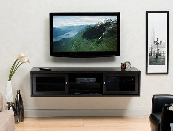 Modern wall mounted media cabinet