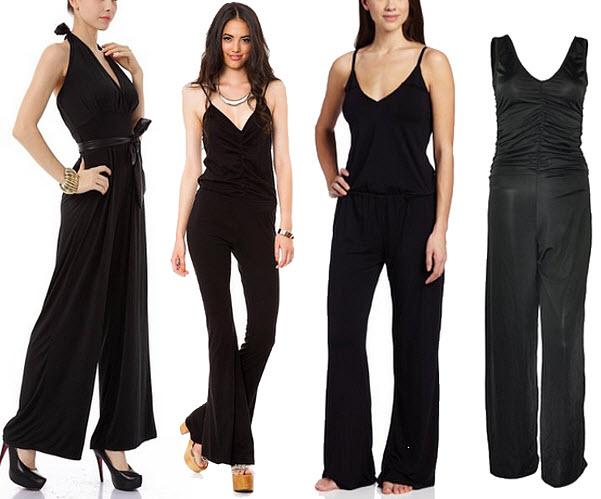 Black V-neck jumpsuit