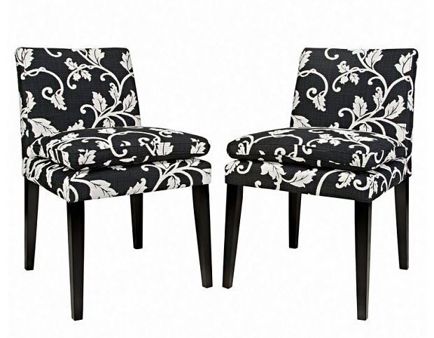 Black and white upholstered dining chairs