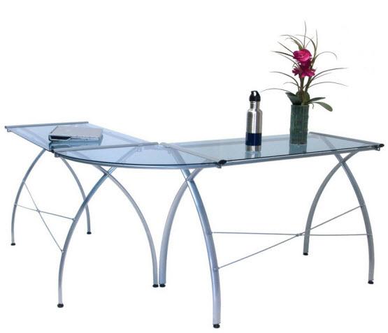 L-shaped glass top desk