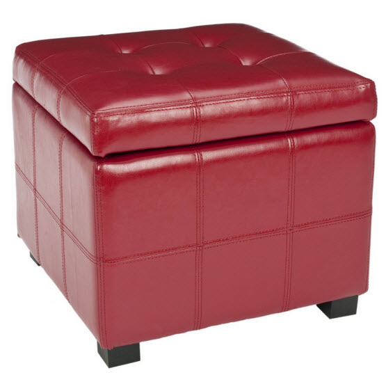 Red leather storage ottoman