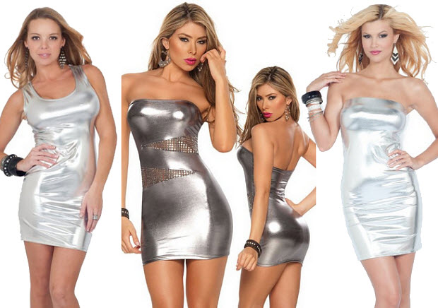 Shiny silver mini dress