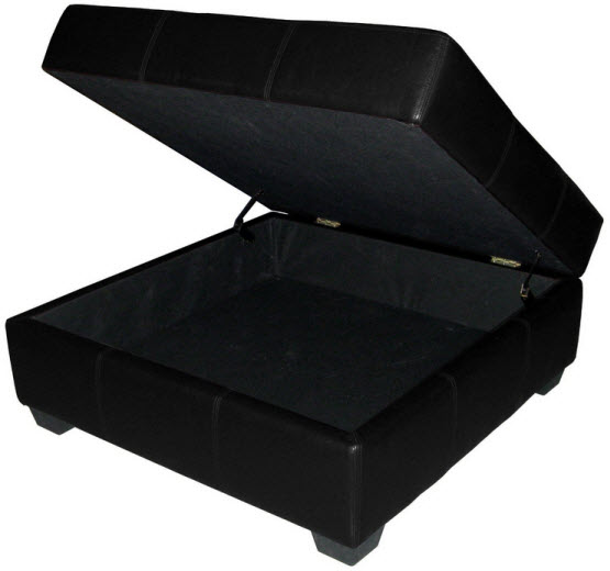 Square upholstered storage ottoman coffee table