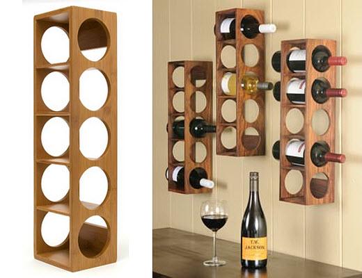 Wood wall mounted wine rack