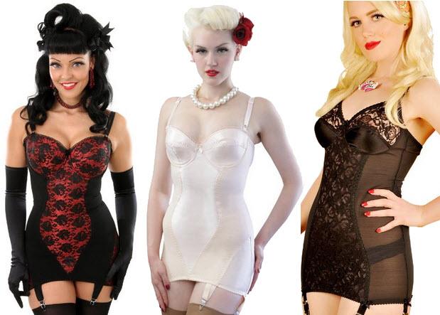 Open bottom retro corselette with suspenders