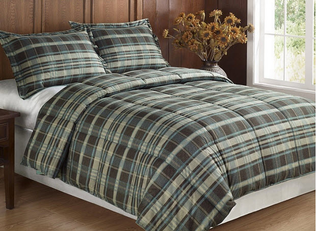 Plaid flannel comforter