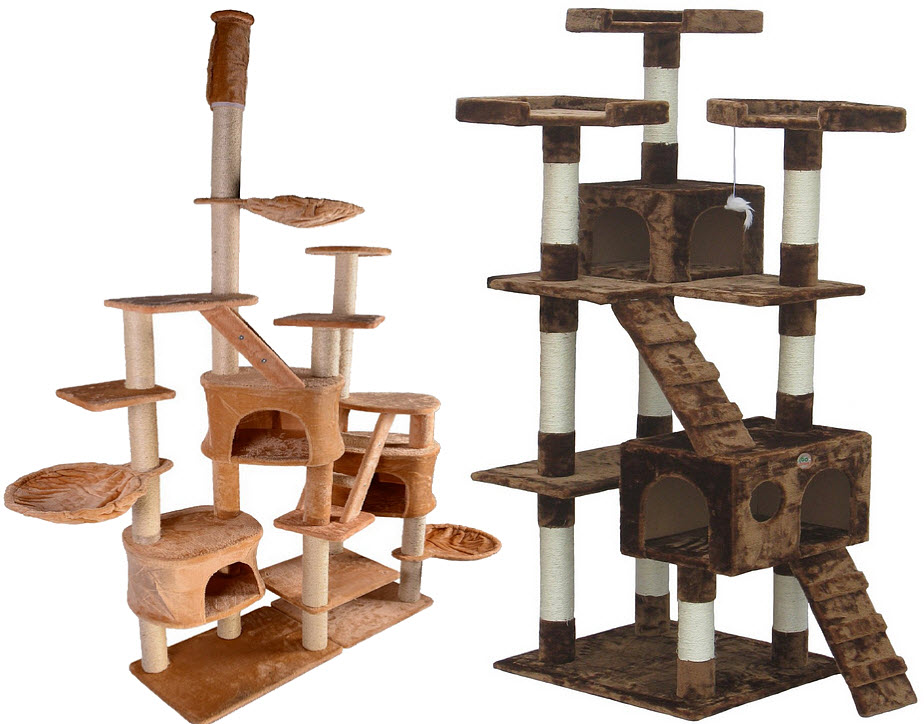 Large carpeted cat trees