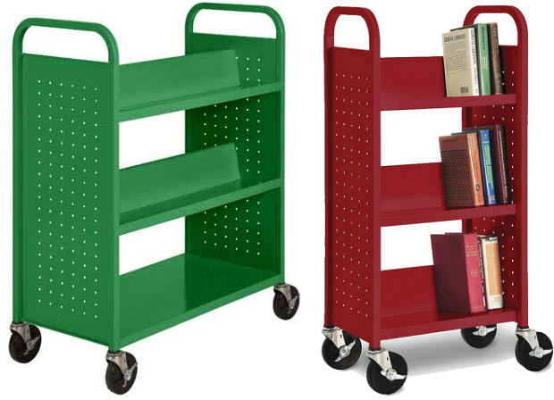 Rolling library book cart