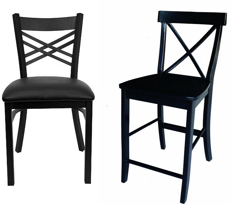 Black X-back chairs