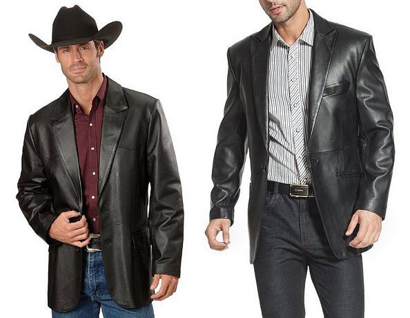 Mens black leather blazers