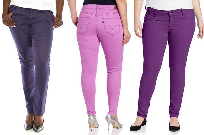 Plus-size purple jeans