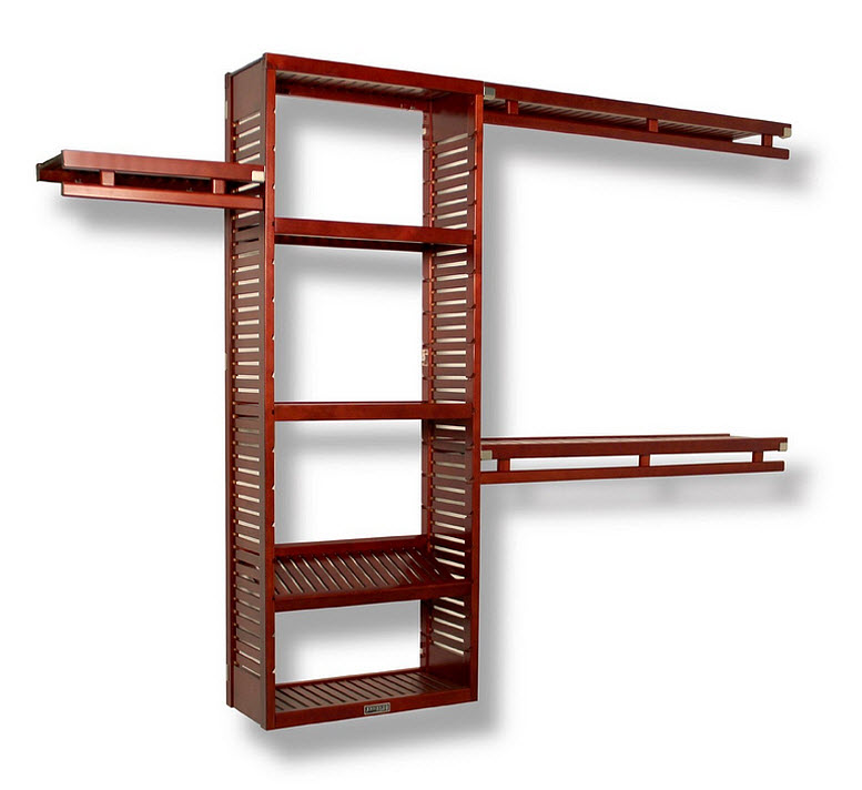 Wooden closet shelving systems