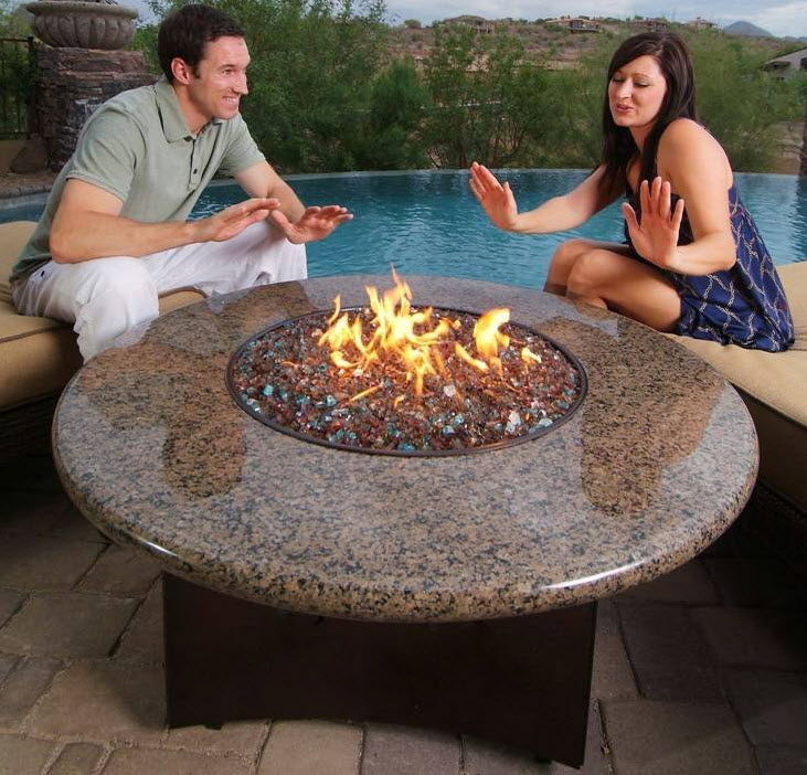 Outdoor gas fire-pit tables