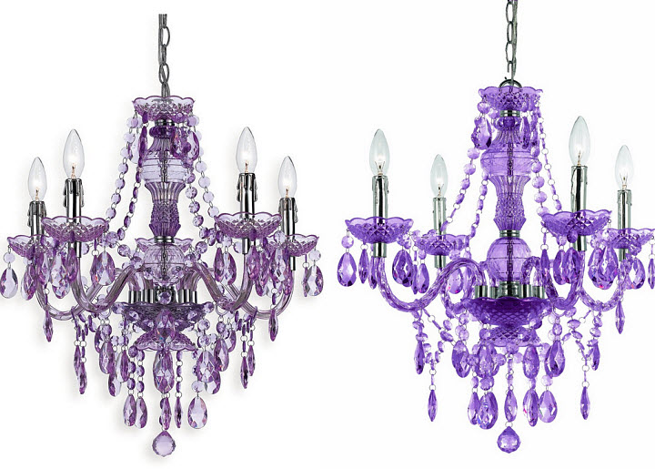 Purple glass chandelier