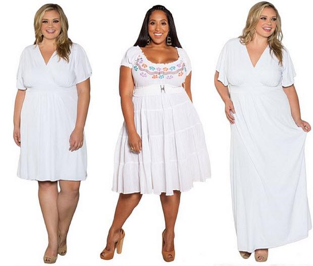 White plus-size sundresses