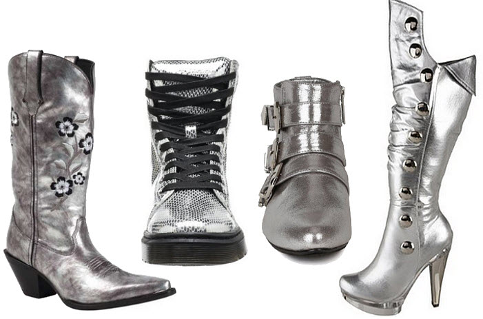 Womens metallic silver boots