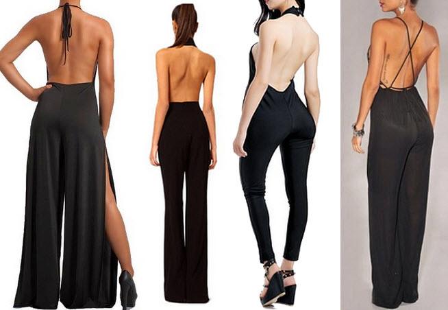 Black backless jumpsuits
