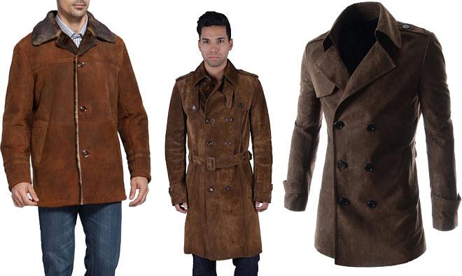 mens brown suede coat