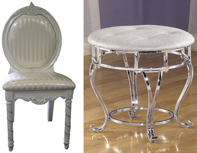 Silver vanity chair