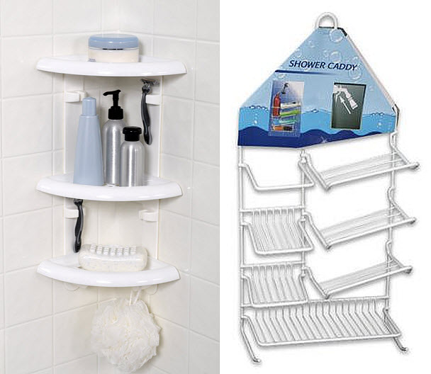 white shower caddy